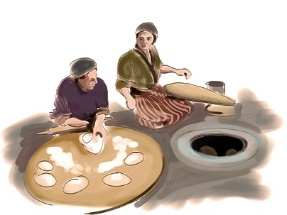 Image of 2 women using traditional methods to make lavash bread.