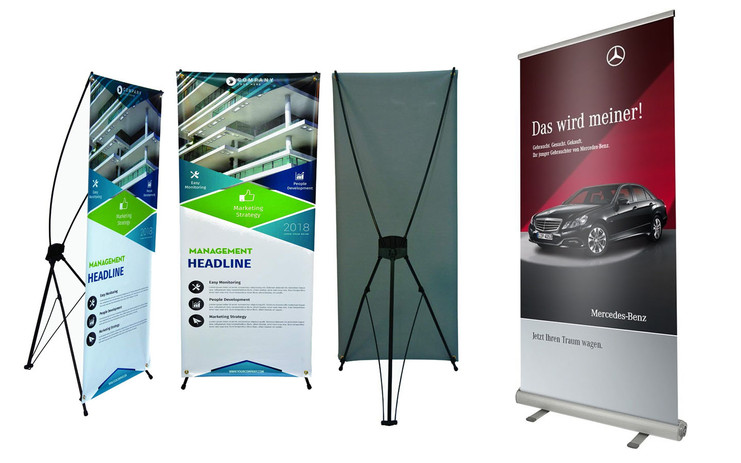 Rollup Banners and X frame Display Standees.