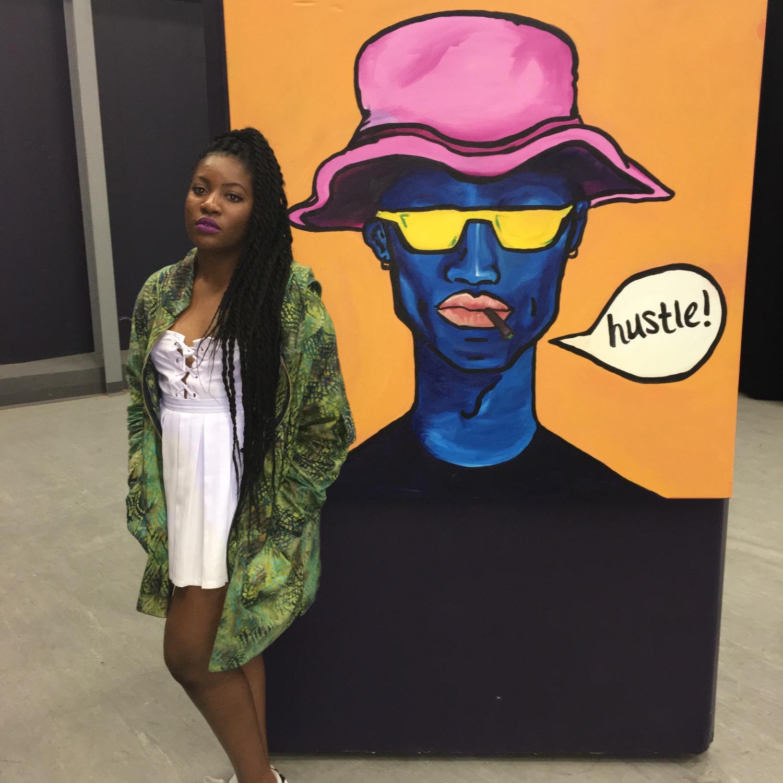 Cindy against paintings