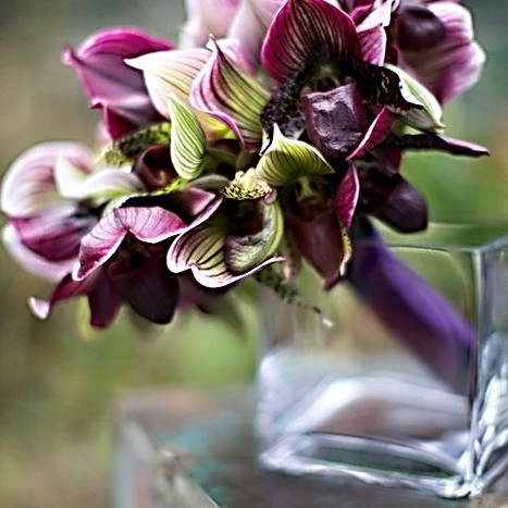 Contemorary all lady slipper bridal bouquet with natural stems ribbon wrapped.jpg