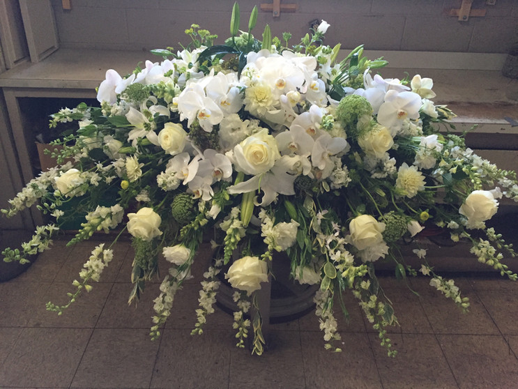 Whites and cremes casket cover