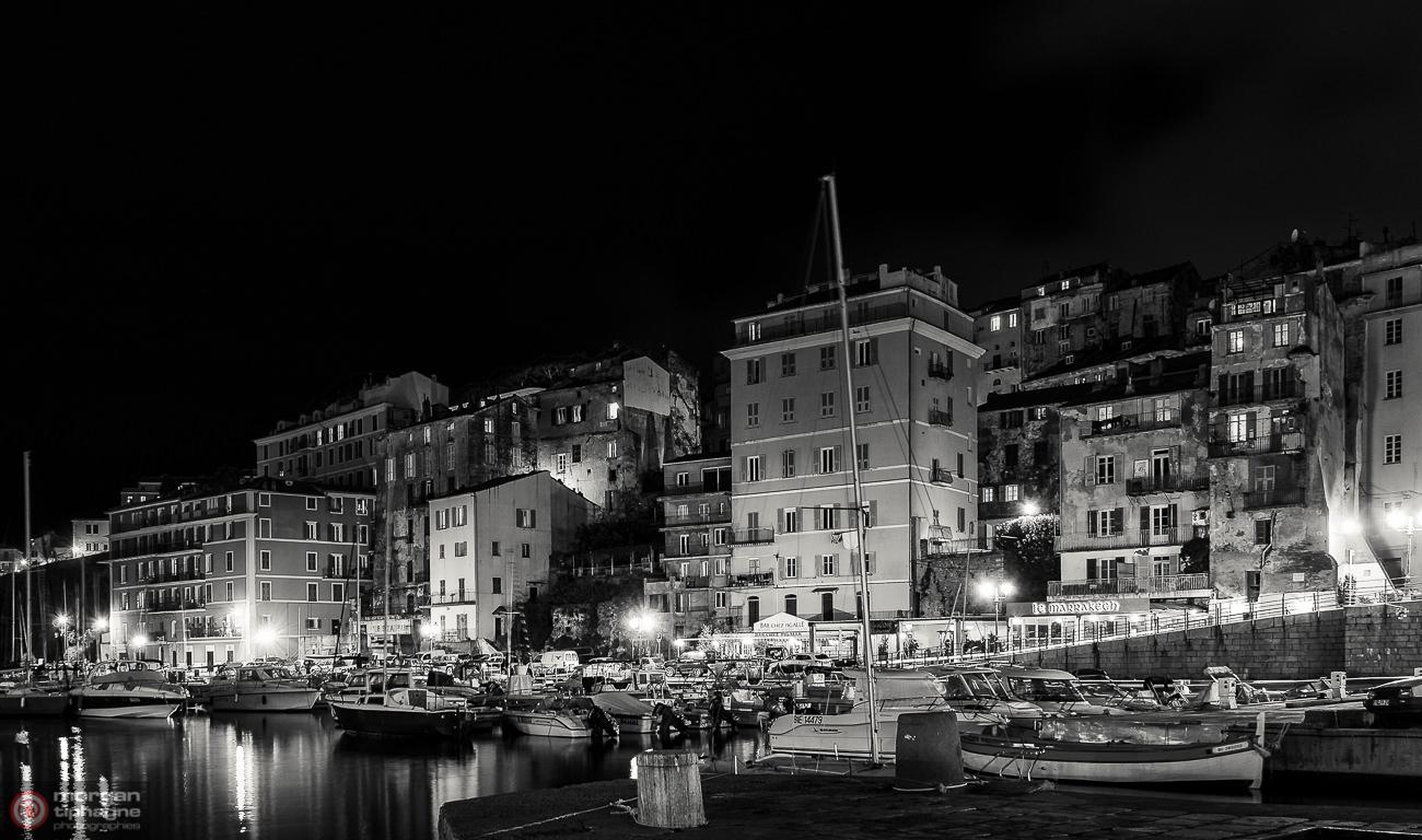 Harbor in the night