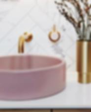 pink washbasin in bathroom