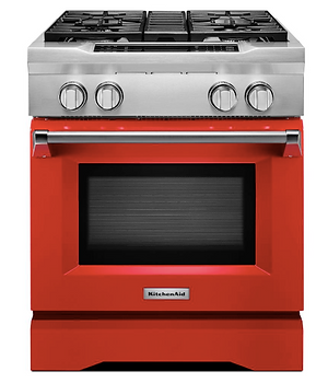 orange red oven that pops