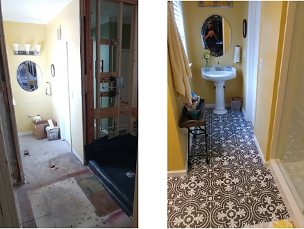 Before and after bathroom renovation in