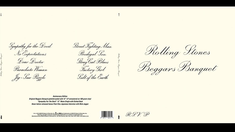 The Rolling Stones Beggars Banquet 'wedding invite' sleeve album cover