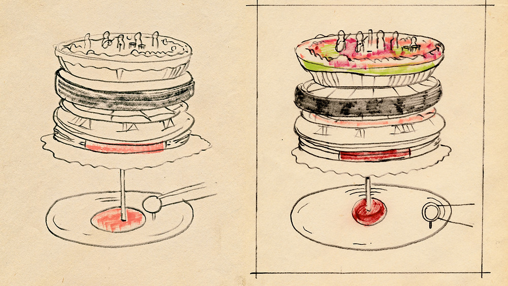 Robert Brownjohn original sketch for The Rolling Stones 'Let It Bleed' cover art 1969