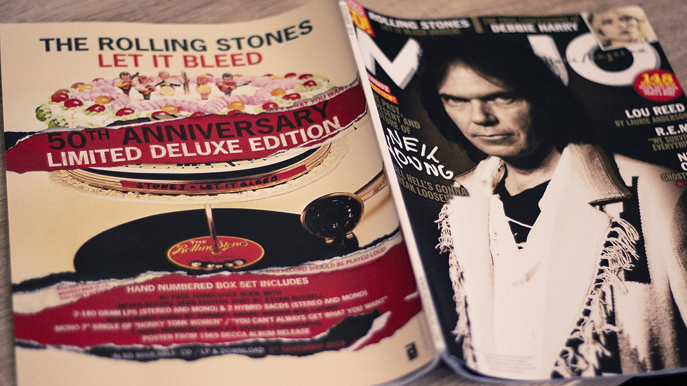 Back cover of Mojo Magazine featuring an advert for Let It Bleed by The Rolling Stones by Yes Please Productions