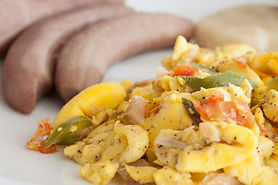 Ackee and Salt Fish served with boiled b