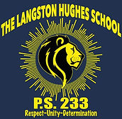 School Lion Logo says P..S. 233 The Langston Hughes School Respect,  Unity, Determination