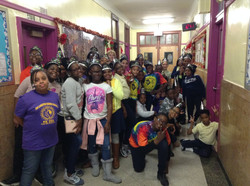 Chorus students gather in the hallway