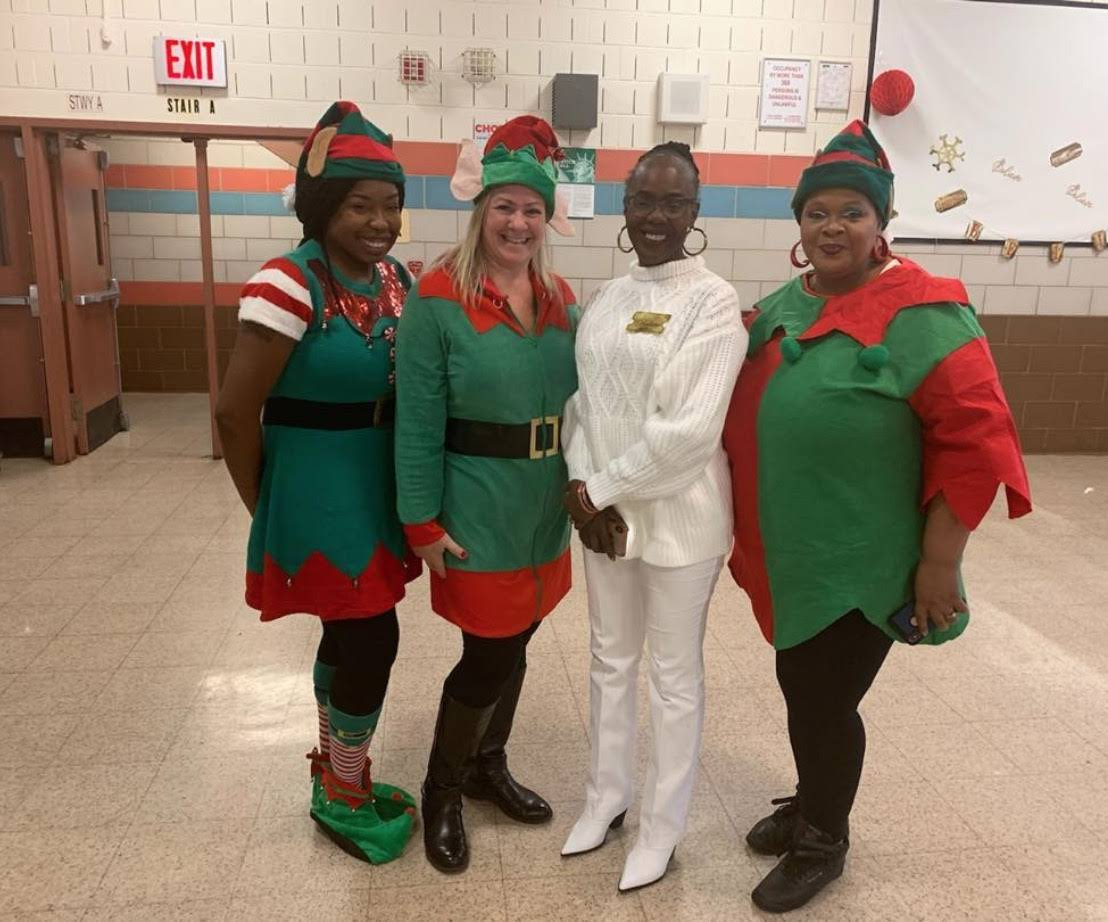 Ms Spellman with her elves Ms. Humphrey, Ms. D'Esposito and Ms. Battle
