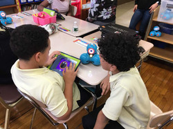 Ms. McCrea's fifth graders coding lights of Dash robot