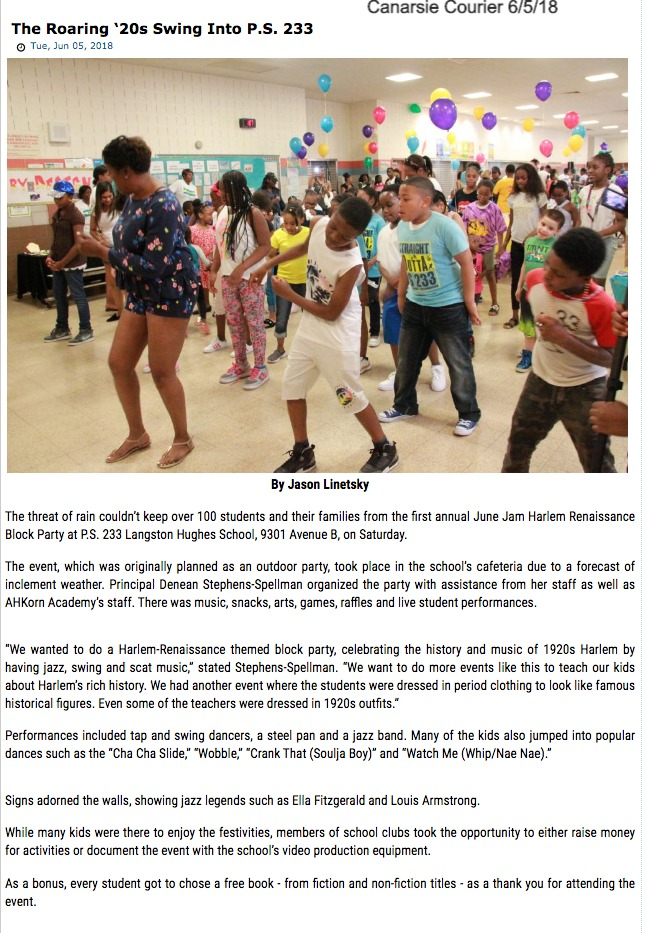 "Canarsie Courier article, ""The Roaring '20's Swing Into P.S. 233"""