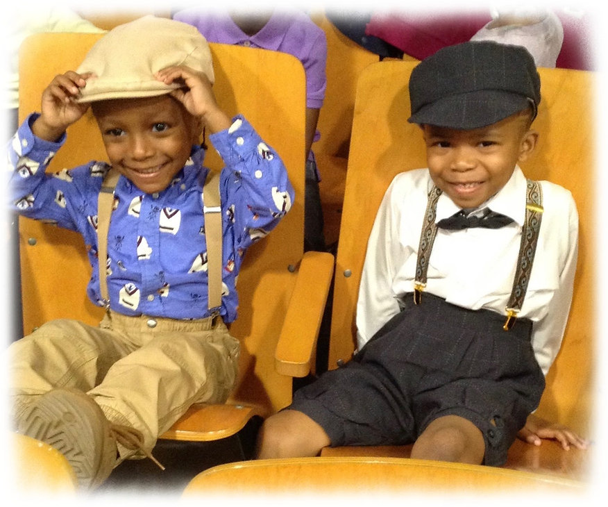 Pre-K boys look adorable dressed in 20's clothing with hats