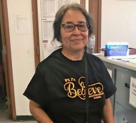 Sylvia Peralta in P.S. 233 Believe t-shirt