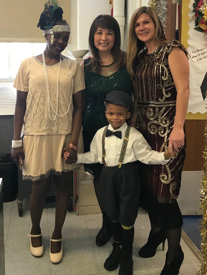 Ms. Spellman, Ms. Sydney-Smith, and Ms. Esposito with Makai looking adorable in 1920's costume