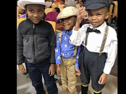 Jed, Brandon, and Makai in 1920's costumes