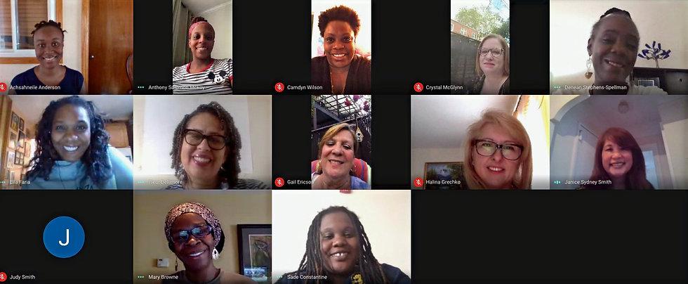 Faces of School Leadership Team in Zoom meeting.