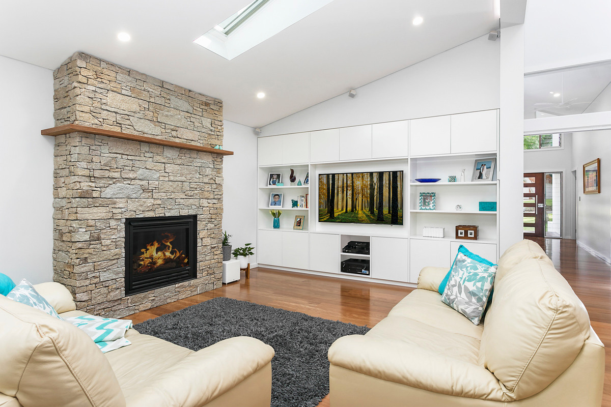 Fireplace lounge - Heathcote renovation by Shire Build