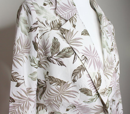 Linen Blazer with Leaf Design