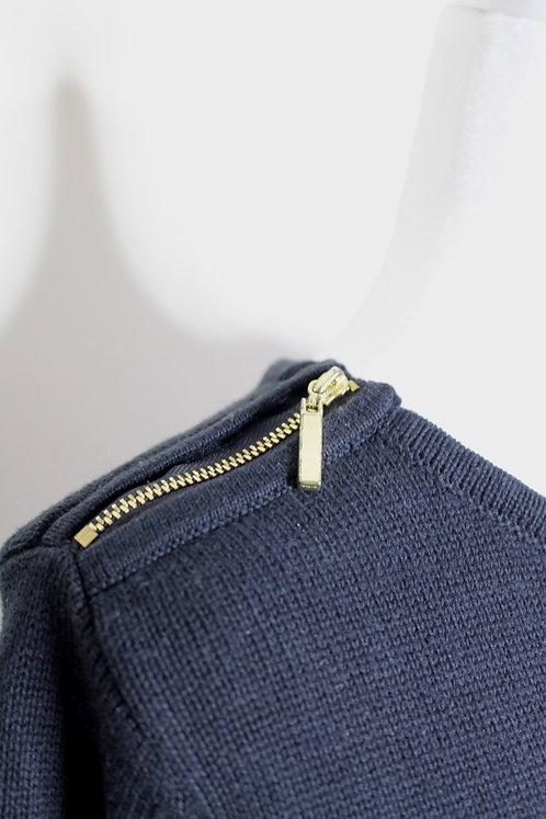 Longline Vintage Sweater w/ Zipper Detailing, Oversized