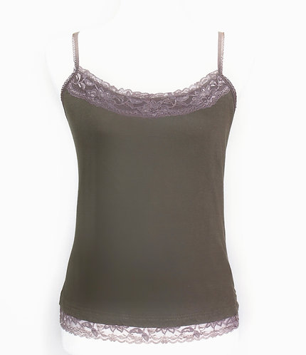 Khaki Strap Top With Lace Detailing, Size S