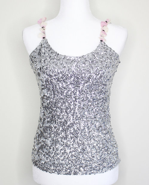 Silver Top With Petal & Crystal Straps, Size S