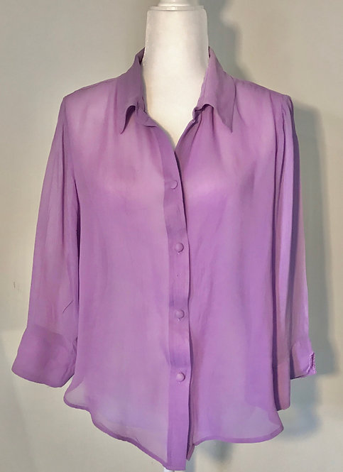 Vintage Sheer Lilac Blouse, Size 16