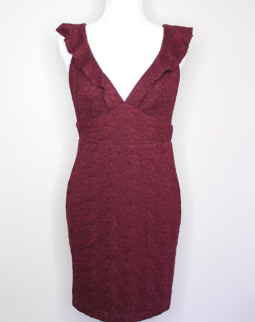 Floral Lace Handmade Detailed Bodycon Dress, Size M