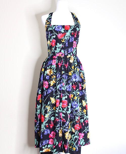 Vintage Floral Maxi Dress, Size L