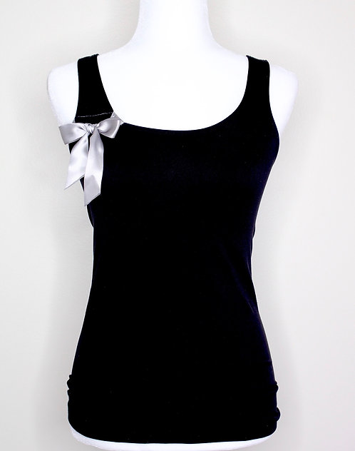 Black Top w/ Silver Bow Accent, Size S