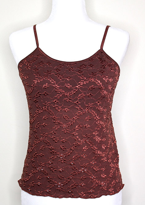Chocolate Embroidered Strap Top, Size S