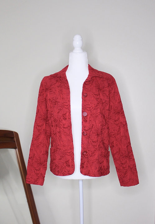 1980s Embroidered Red Blazer, Size XS