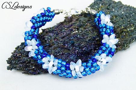 Frozen inspired beaded kumihimo bracelet