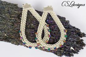 Teardrop shaped wire kumihimo earrings 6
