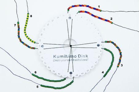 Flower beaded kumihimo braid setup pictu