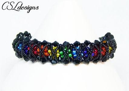 Rainbow kisses beaded kumihimo bracelet