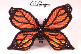 Micro macrame monarch butterfly hair cli