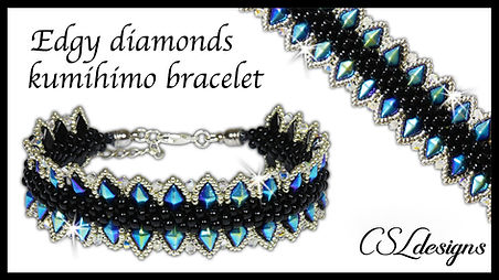 Edgy diamonds beaded kumihimo bracelet t