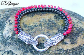 Dragon beaded kumihimo bracelet stone cl