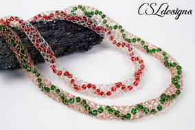 Beaded spiral wire knitting spool braid