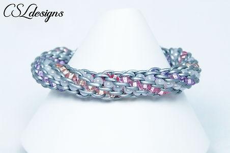 Four colour beaded kumihimo bracelet thu