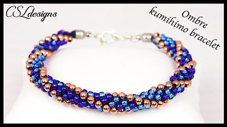 Ombre stripes beaded kumihimo bracelet t