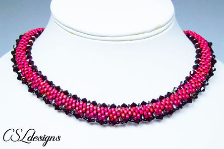 Beaded kumihimo SuperDuo necklace thumbn