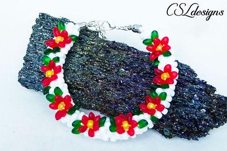 Poinsettia beaded kumihimo bracelet thum