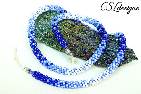 Ombre beaded kumihimo necklace thumbnail