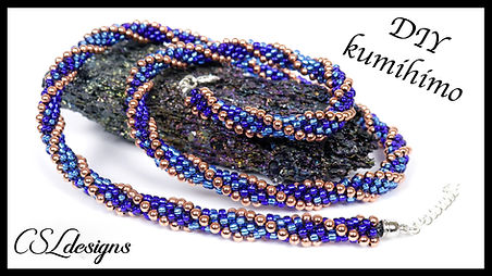 Ombre stripes beaded kumihimo necklace t
