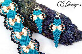 Daisy micro macrame bracelet earrings st