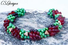 Beaded hedgehog kumihimo bracelet stone.